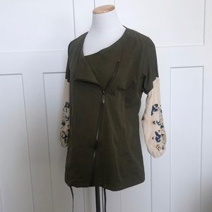 Zara Choices Embroidered Sleeve Jacket Zip Olive